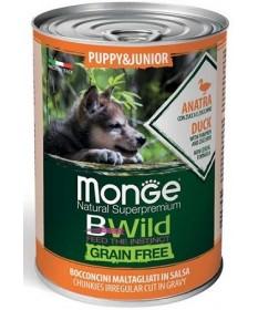 Monge Natural Superpremium BWild Grain Free per Cani Puppy&Junior con Anatra, Zucca e Zucchine da 400 gr