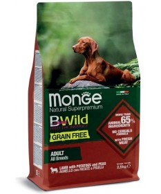 Monge Natural Superpremium BWild Grain Free per Cane Adult All Breeds con Agnello, Patate e Piselli