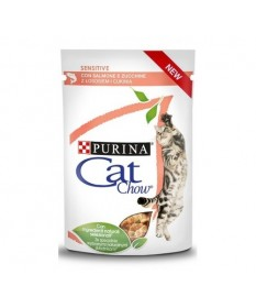 Purina Cat Chow Sensitive con Salmone e Zucchine Multipack da 4x85 gr