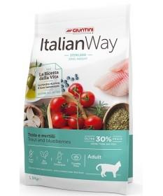 Italian Way Sterilized Ideal Weight per Gatti Adulti con Trota e Mirtilli