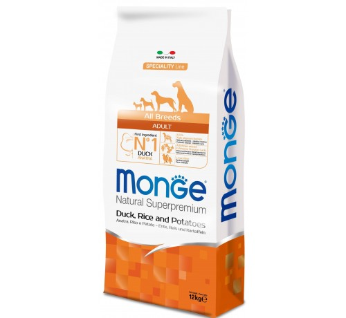 Monge Natural Superpremium Adult All Breeds Cane Secco Anatra Riso e Patate