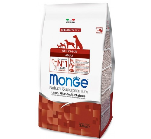Monge Natural Superpremium Adult All Breeds Cane Secco Agnello Riso e Patate