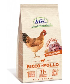 LifeCat Low Grain Ricco in Pollo per Gatti Adulti